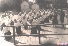 Городской сад, тренировка физкультурников. Фото 1961 г